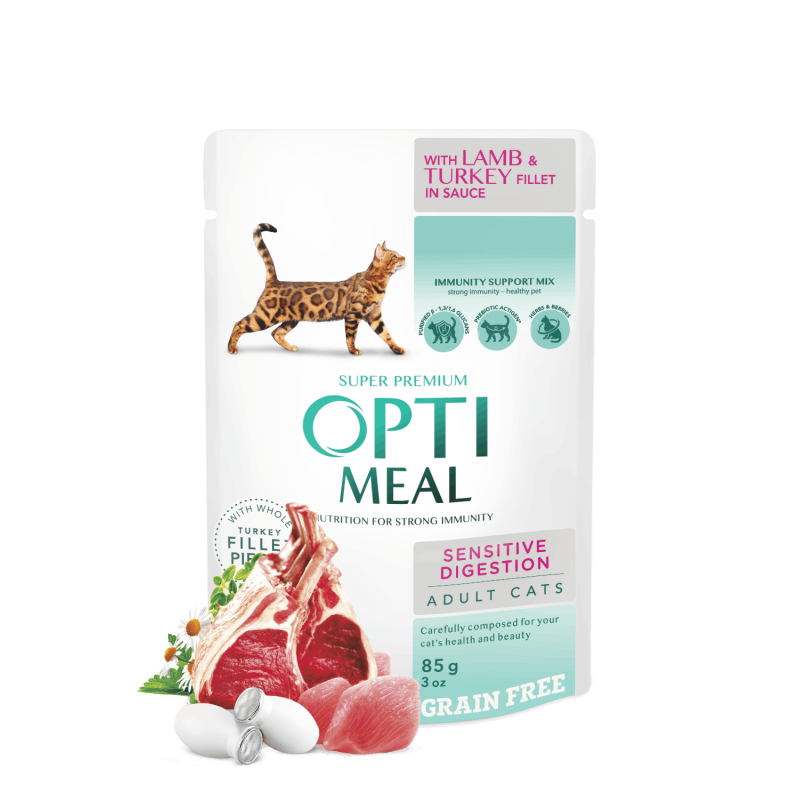 OPTIMEAL™ Grain free complete сanned pet food for adult cats with sensitive digestion with lamb and turkey fillet in sauce