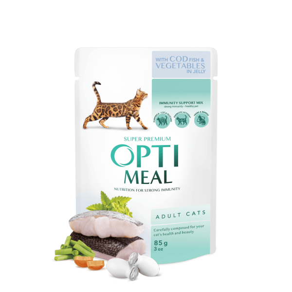 OPTIMEAL ™ Сomplete сanned pet food for adult cats with cod fish and veggies in jelly