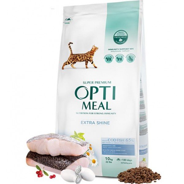 OPTIMEAL ™ Complete dry pet food for adult cats high in cod fish, 10kg