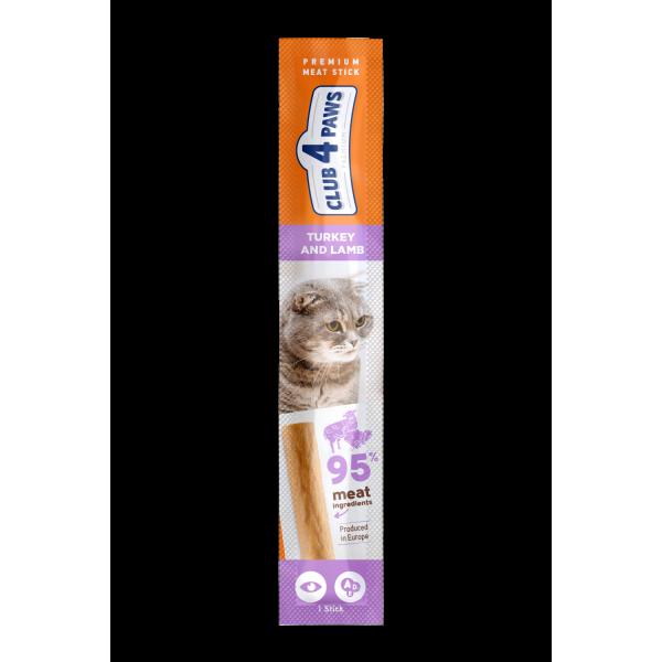 CLUB 4 PAWS Premium Barrita de carne: PAVO y cordero. Comida complementaria para los gatos