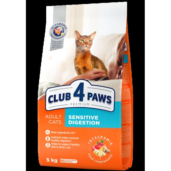 "CLUB 4 PAWS Premium ""Sensitive digestion"". Complete dry pet food for adult cats 5 kg"