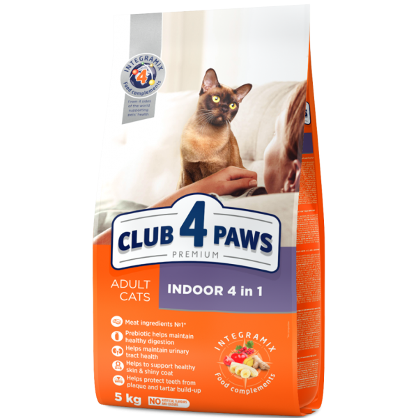 """CLUB 4 PAWS Premium """"Indoor 4 in 1"""". Complete dry pet food for adult cats, 5 kg"""