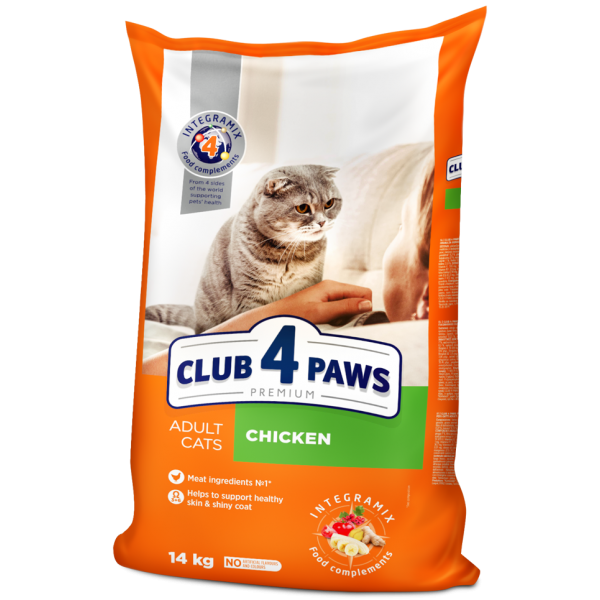 """CLUB 4 PAWS Premium """"Chicken"""". Complete dry pet food for adult cats, 14 kg"""