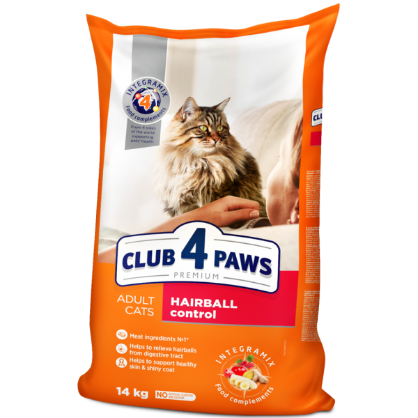 """CLUB 4 PAWS PREMIUM """"HAIRBALL CONTROL""""  СOMPLETE DRY PET FOOD FOR ADULT CATS 14 kg"""
