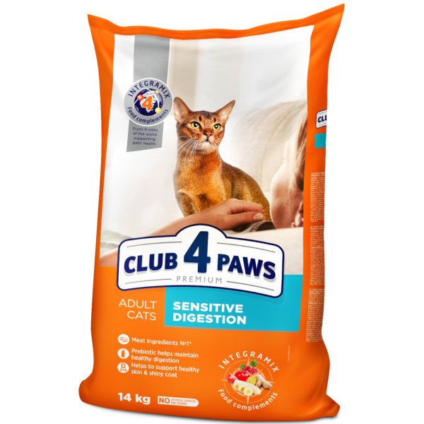 "CLUB 4 PAWS Premium ""Sensitive digestion"". Complete dry pet food for adult cats,14 kg"