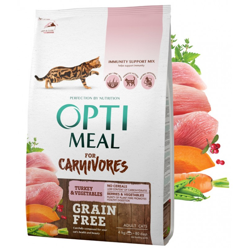 OPTIMEAL™. Grain free complete dry pet food for adult cats - turkey and veggies 4 kg