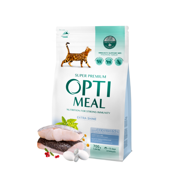 OPTIMEAL ™ Complete dry pet food for adult cats high in cod fish, 0,7 kg