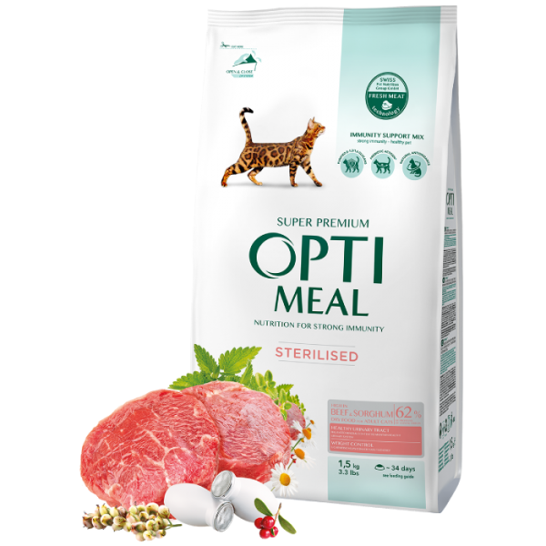 Complete dry pet food for sterilised cats - high in beef and sorghum, 1,5 kg