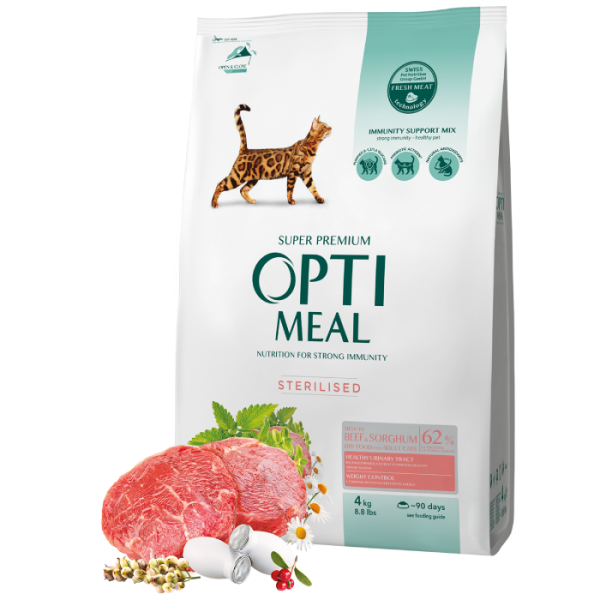 Complete dry pet food for sterilised cats - high in beef and sorghum, 4 kg