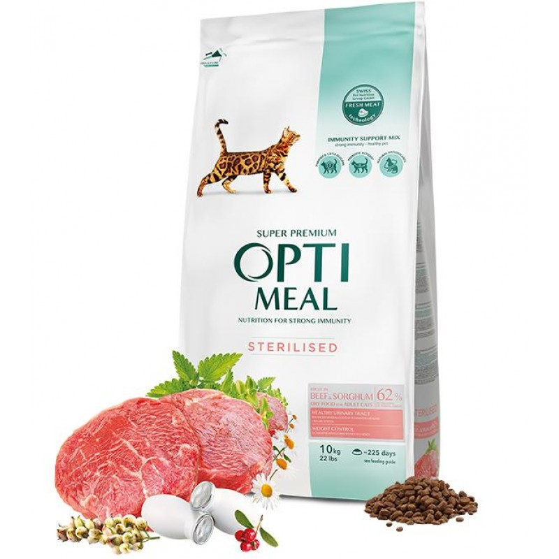Complete dry pet food for sterilised cats - high in beef and sorghum, 10kg