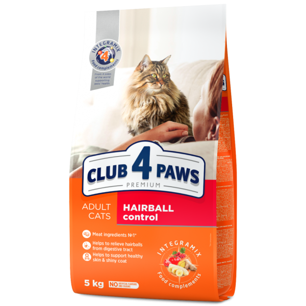 """CLUB 4 PAWS PREMIUM """"HAIRBALL CONTROL""""  СOMPLETE DRY PET FOOD FOR ADULT CATS, 5 kg"""