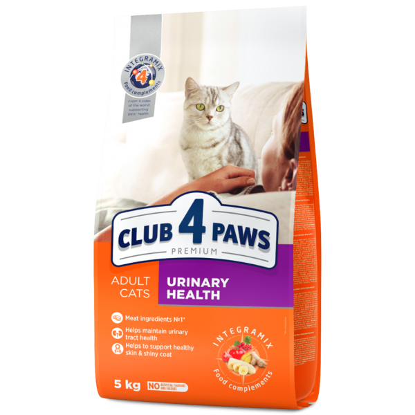 """CLUB 4 PAWS Premium """"Urinary health"""". Complete dry pet food for adult cats, 5 kg"""