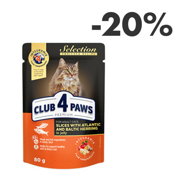 """CLUB 4 PAWS PREMIUM """"SLICES WITH ATLANTIC HERRING AND BALTIC HERRING IN JELLY"""". СOMPLETE CANNED PET FOOD FOR ADULT CATS"""