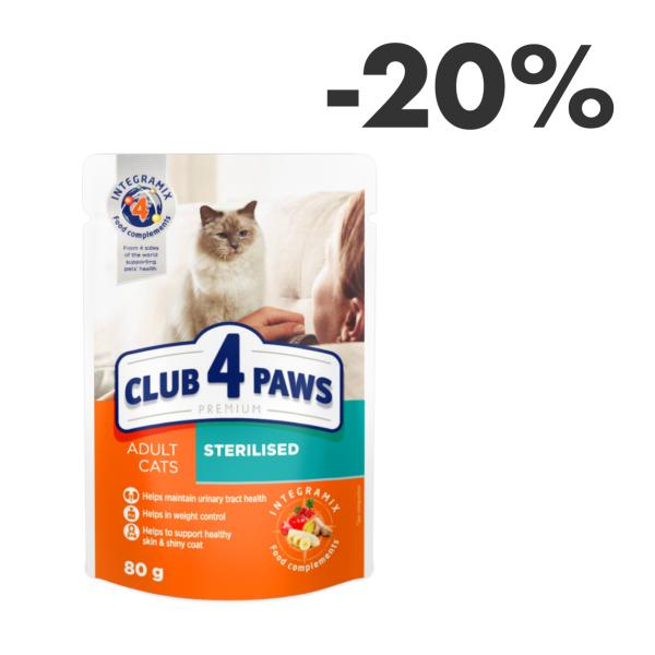 "CLUB 4 PAWS Premium ""Sterilised"". Complete canned pet food for adult sterilised cats 0,08 kg"
