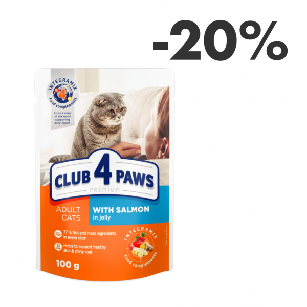 """CLUB 4 PAWS Premium """"With salmon in jelly"""". Complete canned pet food for adult cats 0,1 kg"""