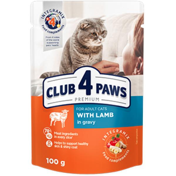 CLUB 4 PAWS Premium Pienso húmedo para gatos adultos con cordero en salsa, 0,1kg