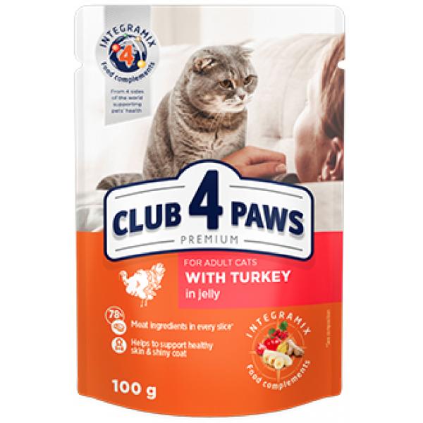 CLUB 4 PAWS Premium Pienso húmedo para gatos adultos con pavo en gelatina