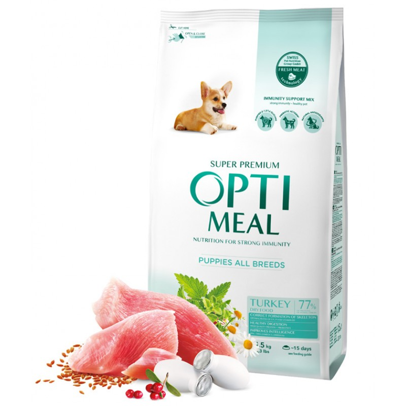 OPTIMEAL™. Complete dry pet food for puppies all breeds - turkey 1,5 kg
