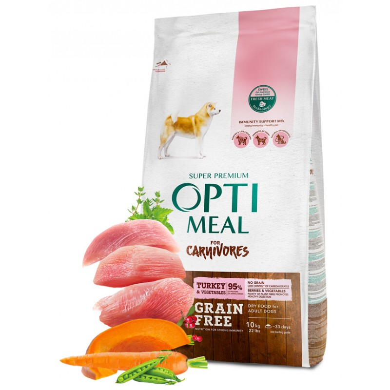 OPTIMEAL™. Grain free complete dry pet food for adult dogs all breeds - turkey and veggies 10 kg