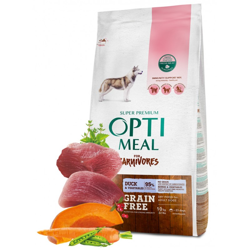 OPTIMEAL™. Grain free complete dry pet food for adult dogs all breeds with duck and veggies 10 kg