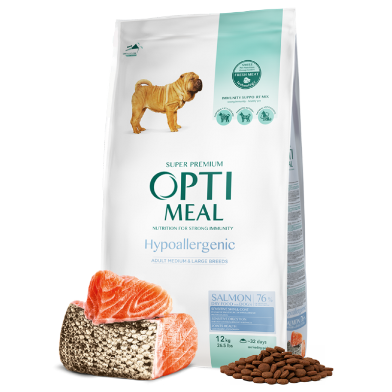 OPTIMEAL™ Hypoallergenic complete dry pet food for adult dogs of medium and large breeds – SALMON. 12kg