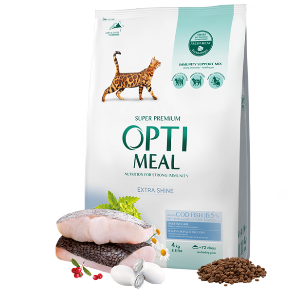 OPTIMEAL ™ Complete dry pet food for adult cats high in cod fish, 4 kg