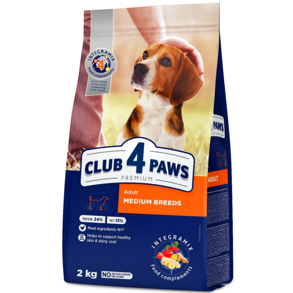 CLUB 4 PAWS Premium for medium breeds. Complete dry pet food for adult dogs 2 kg