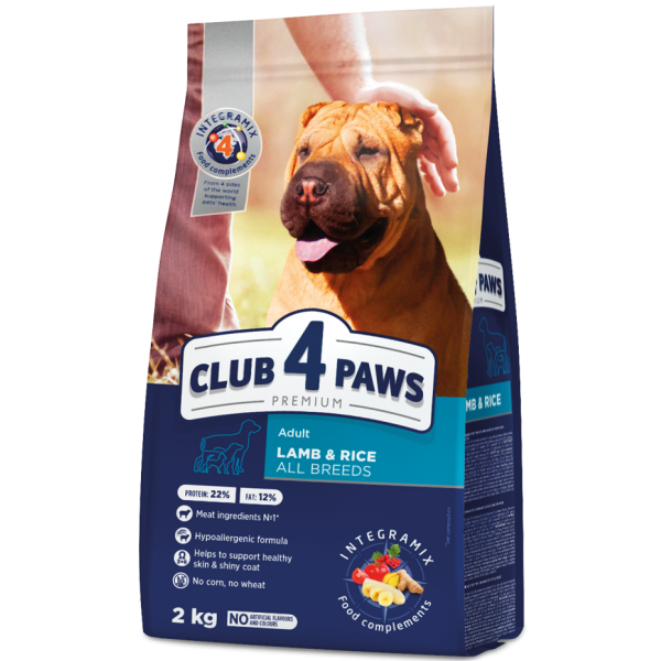 """CLUB 4 PAWS Premium """"Lamb and rice"""" for adult dogs of all breeds. Complete dry pet food 2 kg"""
