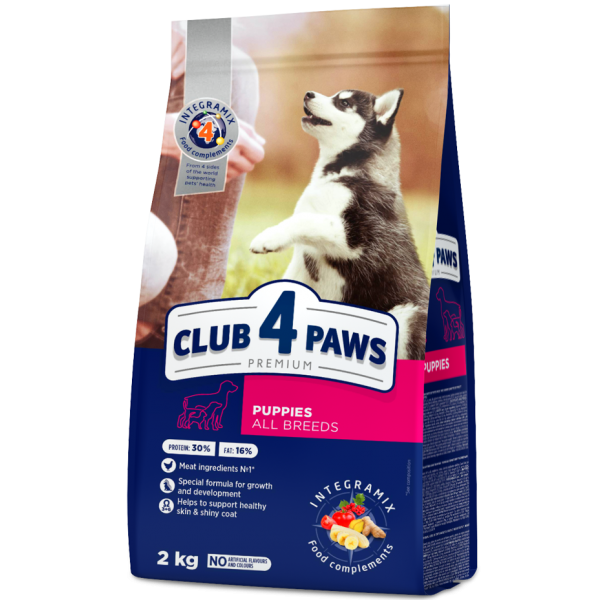 """CLUB 4 PAWS Premium for puppies of all breeds """"Rich in chicken"""". Complete dry pet food 2 kg"""