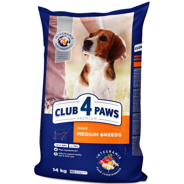 CLUB 4 PAWS Premium for medium breeds. Complete dry pet food for adult dogs, 14 kg