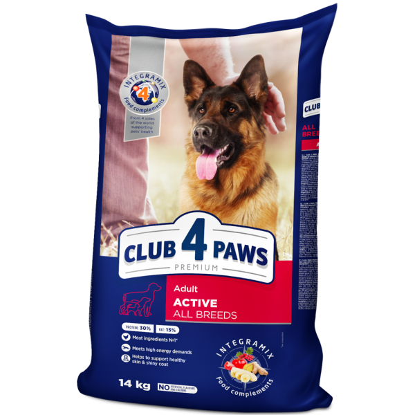 """CLUB 4 PAWS Premium """"Active"""". Complete dry pet food for adult active dogs of all breeds 14 kg"""