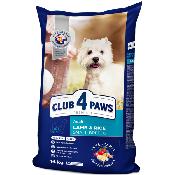 """CLUB 4 PAWS Premium """"Lamb and rice"""" for adult dogs of small breeds. Complete dry pet food,14 kg"""