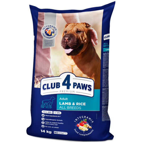 """CLUB 4 PAWS Premium """"Lamb and rice"""" for adult dogs of all breeds. Complete dry pet food, 14 kg"""