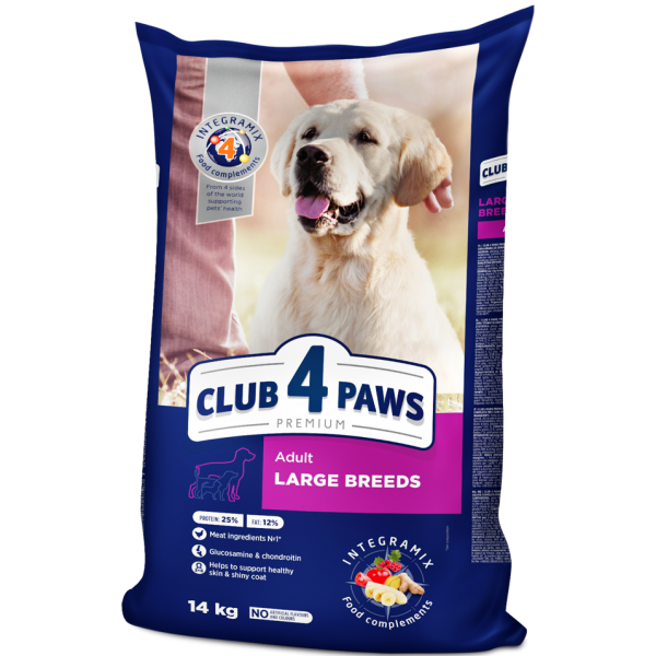 CLUB 4 PAWS Premium for large breeds. Complete dry pet food for adult dogs 14 kg