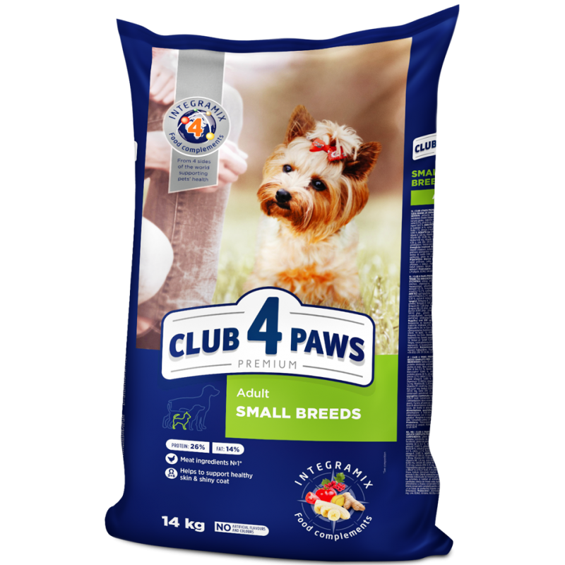 CLUB 4 PAWS Premium for small breeds. сomplete dry pet food for adult dogs, 14 kg