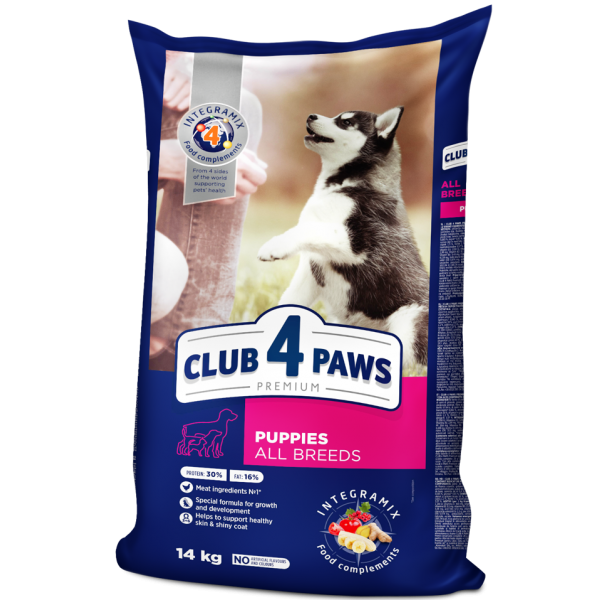 """CLUB 4 PAWS Premium for puppies of all breeds """"Rich in chicken"""". Complete dry pet food, 14 kg"""