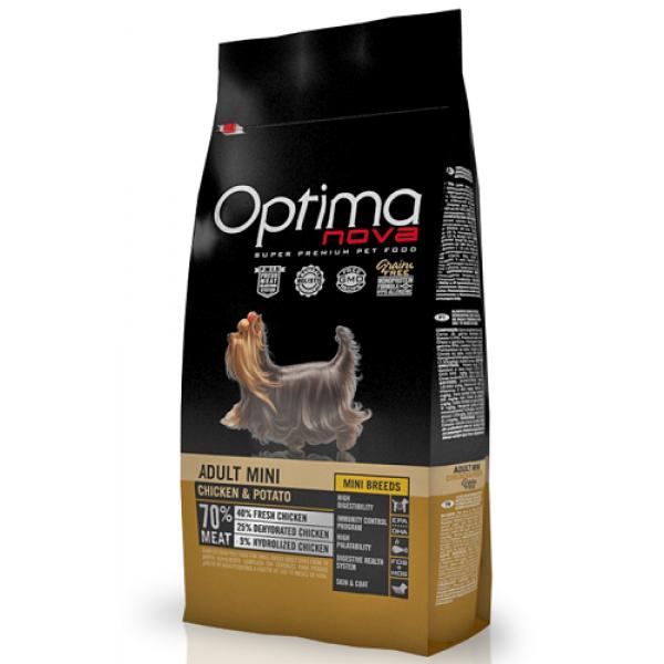 Optima Nova Adult Mini Sin cereales para perros adultos de raza pequeña con pollo y patata, 2 kg