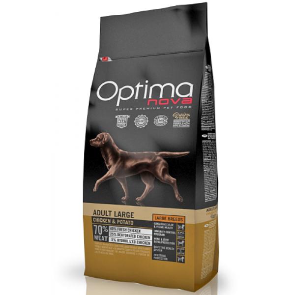 Optima Nova Adult Large Sin cereales para perros adultos de razas grandes con pollo y patata, 12 kg