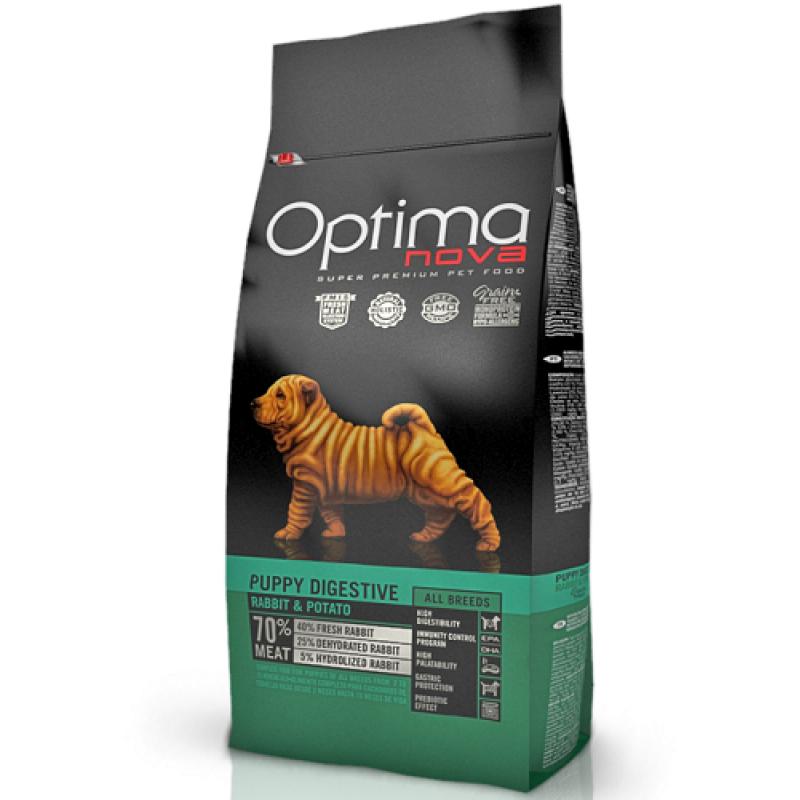 Optima Nova Puppy Digestive Sin cereales para cachorros de cualquier raza con conejo y patata, 2 kg