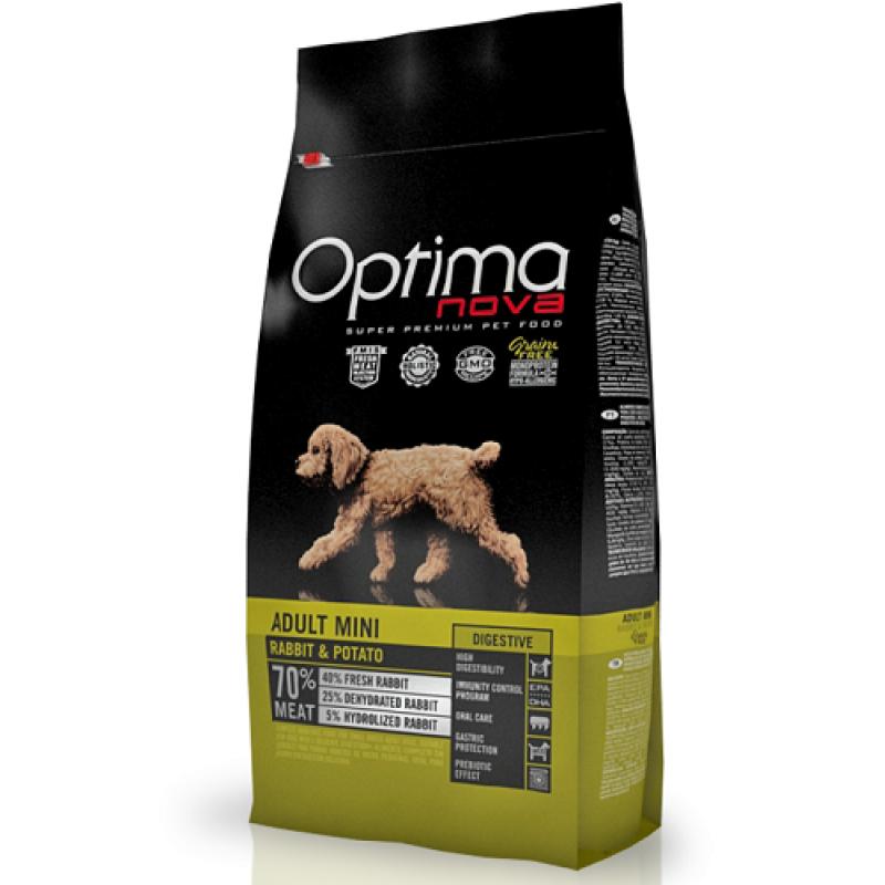 OPTIMA NOVA Adult Mini Digestive para perros adultos de razas pequeñas con conejo y patata, 2kg