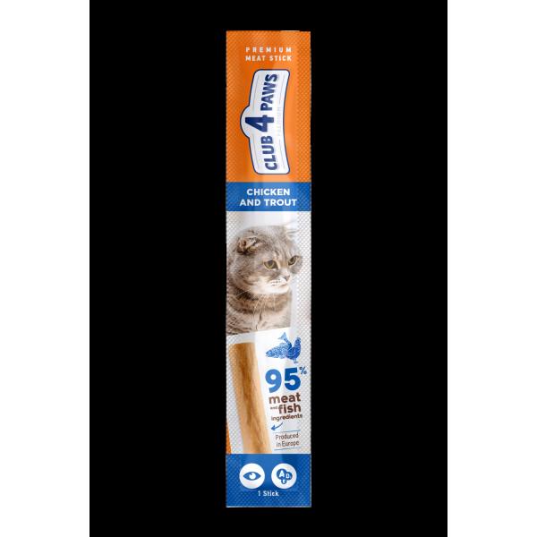 CLUB 4 PAWS Premium Barrita de carne: POLLO y TRUCHA. Comida complementaria para los gatos