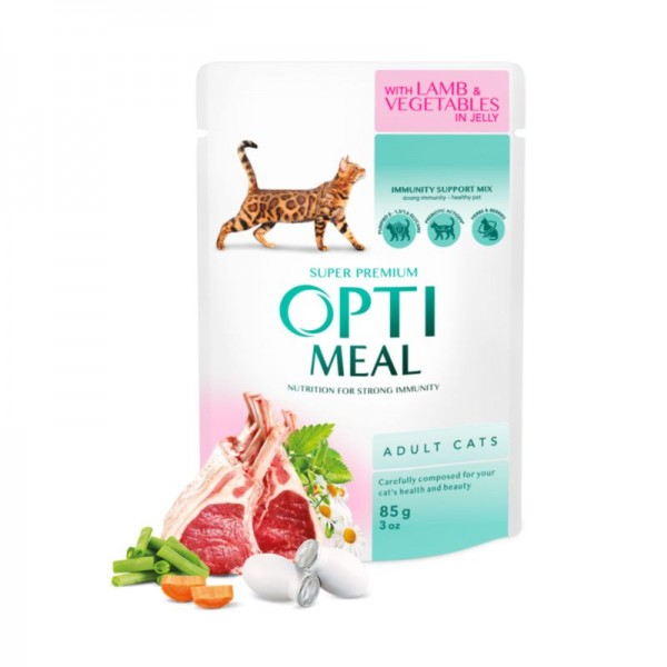 OPTIMEAL ™ Сomplete сanned pet food for adult cats with lamb and veggies in jelly 0,085 kg