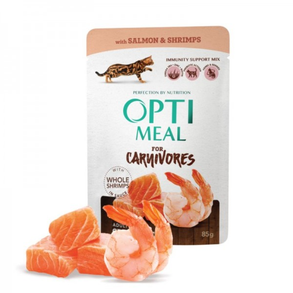 OPTIMEAL ™ Grain free сomplete сanned pet food for adult cats with salmon and shrimps in sauce 0,085 kg