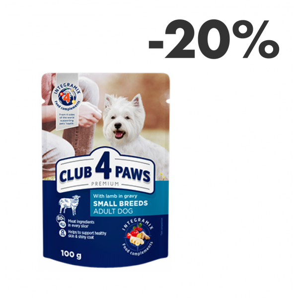 CLUB 4 PAWS Pienso húmedo para perros adultos de razas pequeñas con cordero en salsa, 0,1kg
