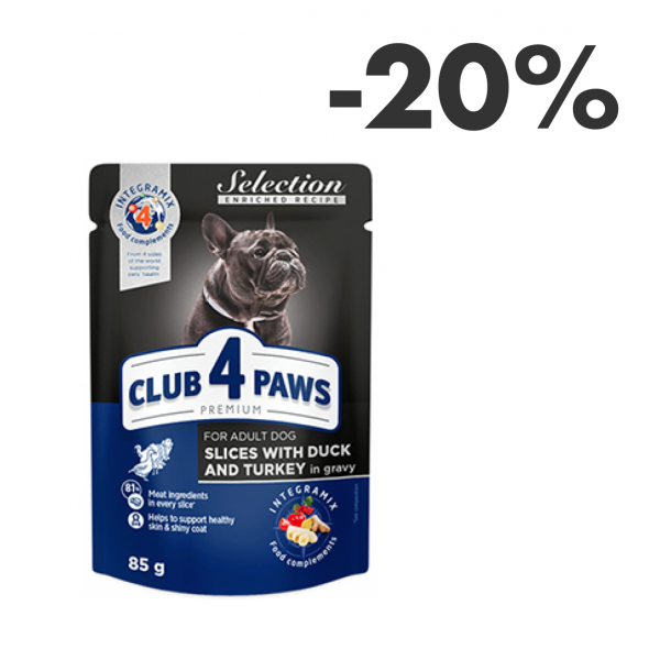 """CLUB 4 PAWS PREMIUM """"SLICES WITH DUCK AND TURKEY IN GRAVY"""". COMPLETE CANNED PET FOOD FOR ADULT DOGS OF SMALL BREED"""