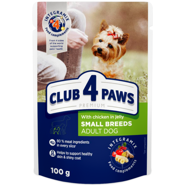 """CLUB 4 PAWS Premium """"With chicken in jelly"""". Complete canned pet food for adult dogs 0,1 kg"""